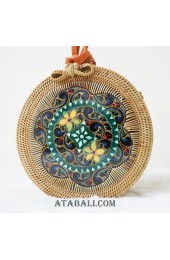 rattan circle bags with wooden hand carving bali
